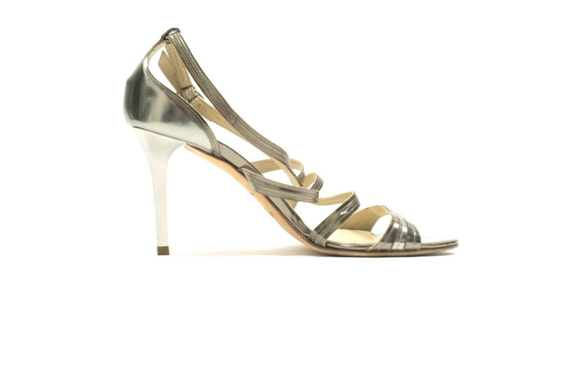 Jimmy Choo Womens Size 8 Silver Pumps Metallic High Heel Strappy Sandals Shoes