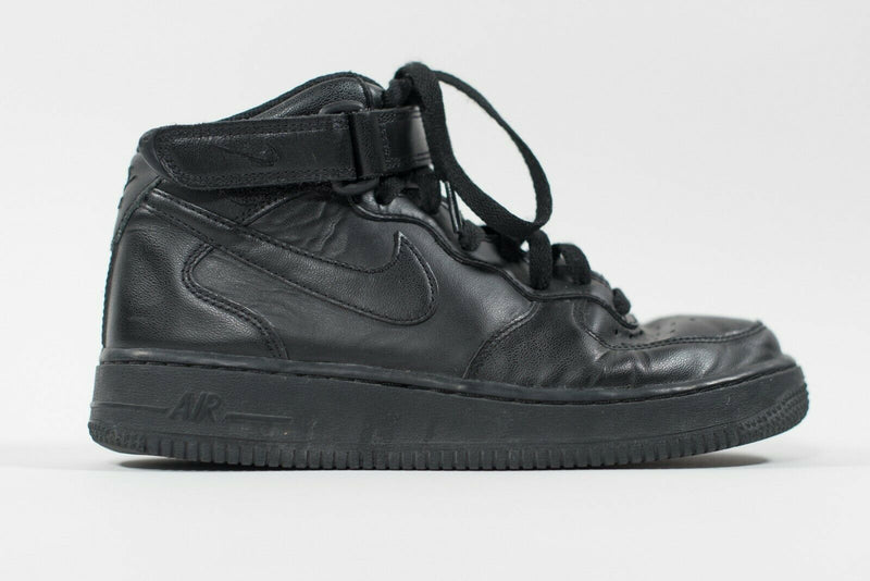 Nike Womens Size 7 Black Air Force 1 Sneakers High Top Leather Ankle Strap Shoes