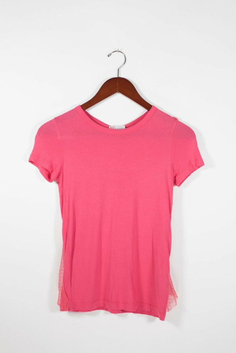 Red Valentino Womens XS Pink Shirt Mesh Bow Back Stretch Knit Top Cap Sleeve Tee