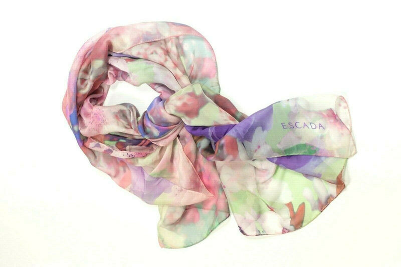 Escada Womens Purple Pink Green Scarf Silk Floral Watercolor Print