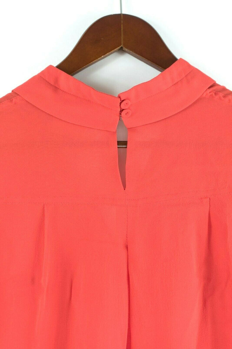 BCBG Max Azria Womens Size XXS Red Top Silk Collared Blouse Long Sleeve Pullover