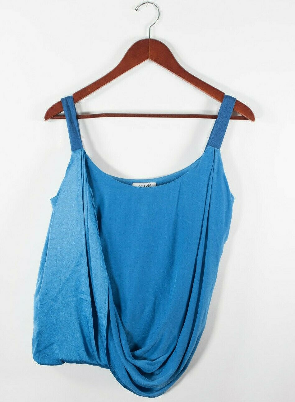 Obakki Womens Size 2 XS Blue Tank Top Silk Spaghetti Strap Made in Canada Blouse