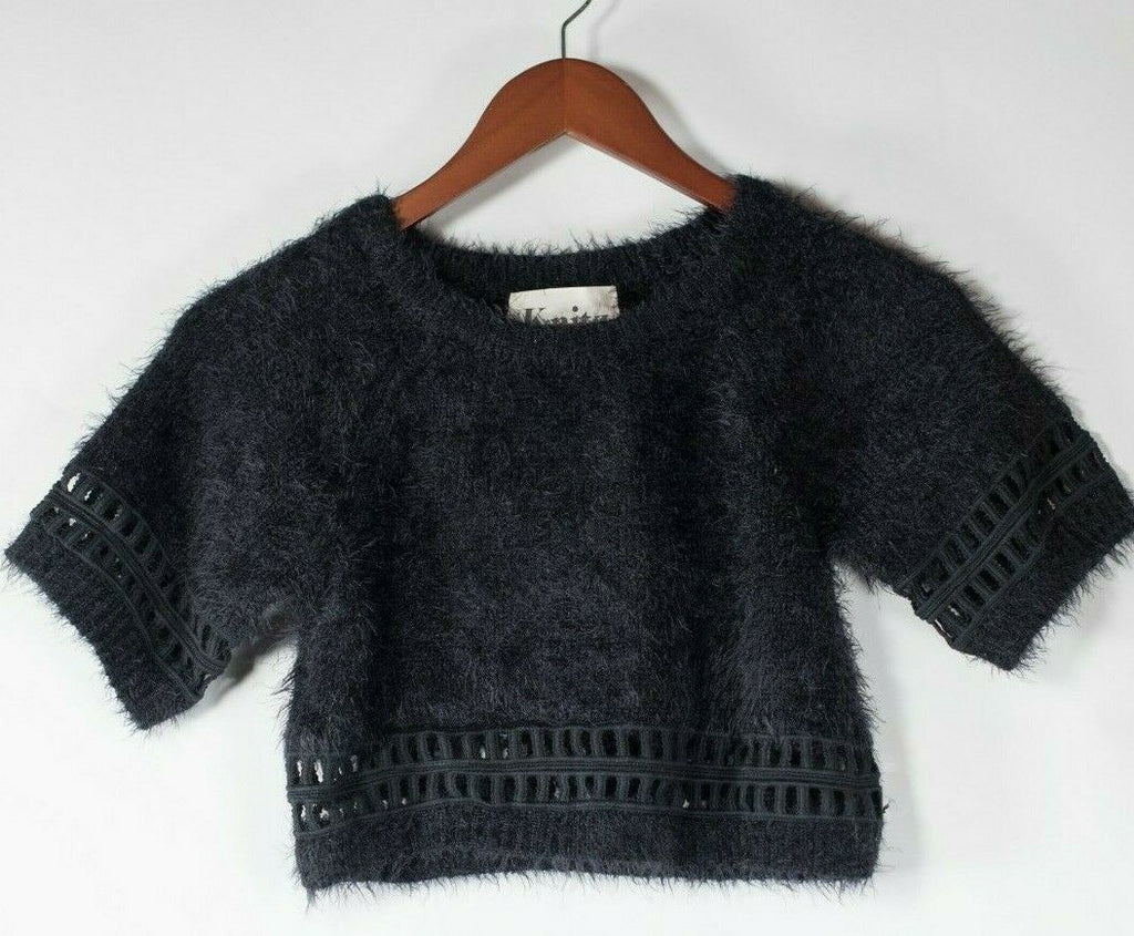 For Love and Lemons Knitz Women's Small Black Pullover Sweater Angora Knit Shirt