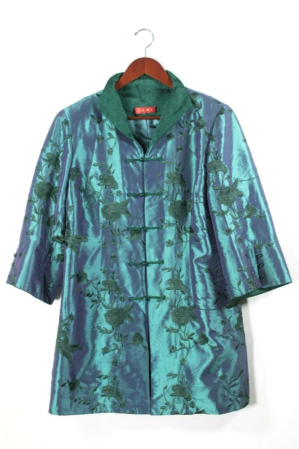 Ochi Womens Medium Teal Green Jacket Embroidered Floral Silk Chinese Blouse Top