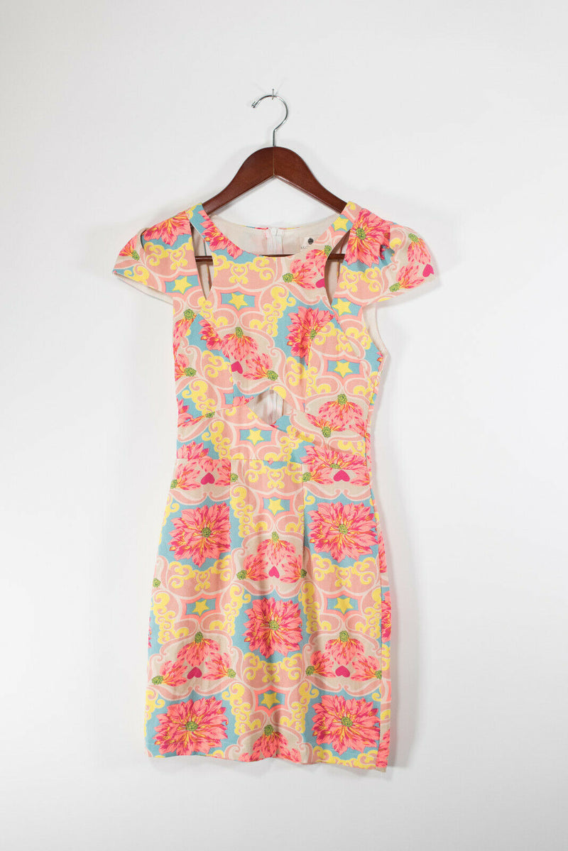 Morning Mist Womens Size 6 Yellow Pink Dress Floral Printed Cutout Shoulder NWT