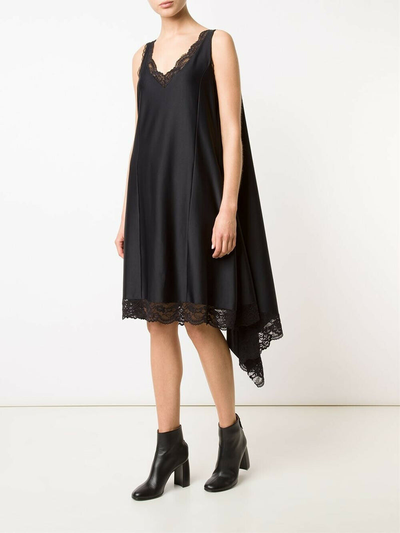Vetements Womens Medium Black Slip Dress Asymmetrical Lace Hem Lingerie $2,190