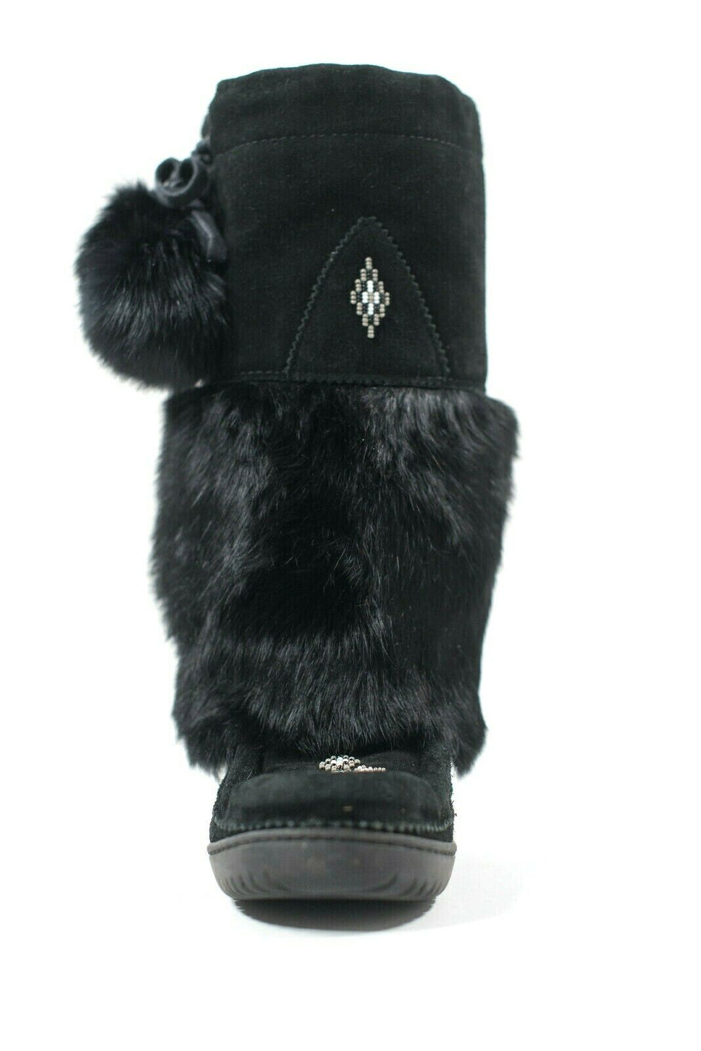 Manitobah Mukluks Womens 7 Black Boots Fur Waterproof Moccasin Beaded Snowy Owl