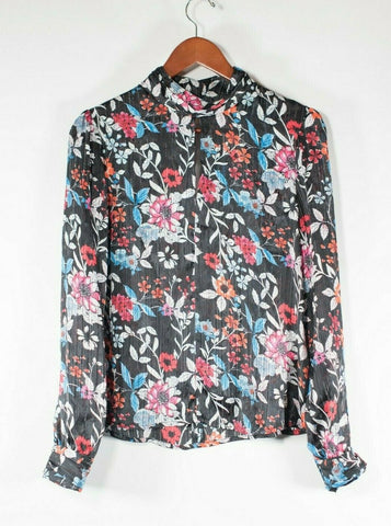Alythea Women's Size Large Black Pink Crop Top Floral Zipper Off Shoulder Shirt