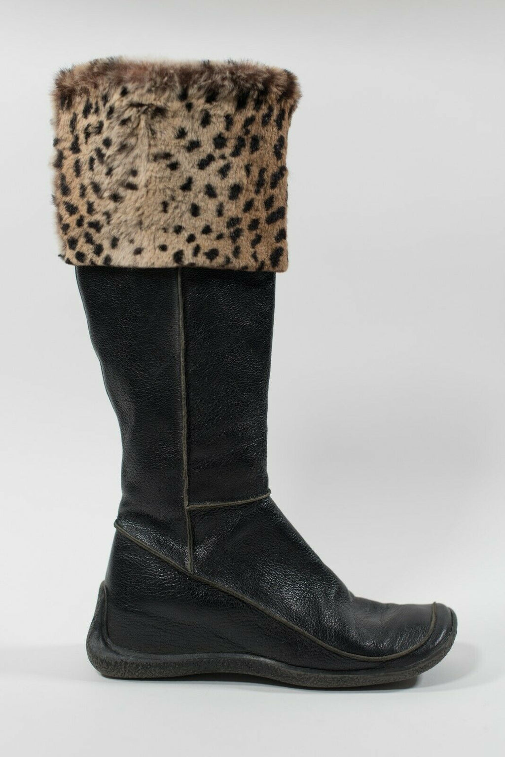 Ash Women's Size 38 Black Brown Boots Tall Leather Faux Leopard Cuff Rubber Sole
