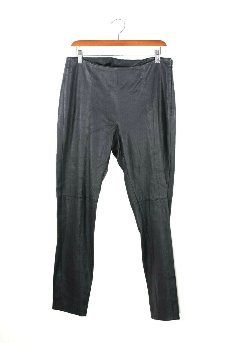 Akris Women Size 8 Medium Pants Fitted Trousers Nappa Lamb Leather Retail $995