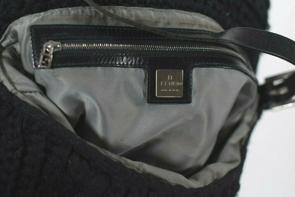 Fendi Womens Black Mamma Baguette Shoulder Bag Wool Leather Handbag Tote Purse