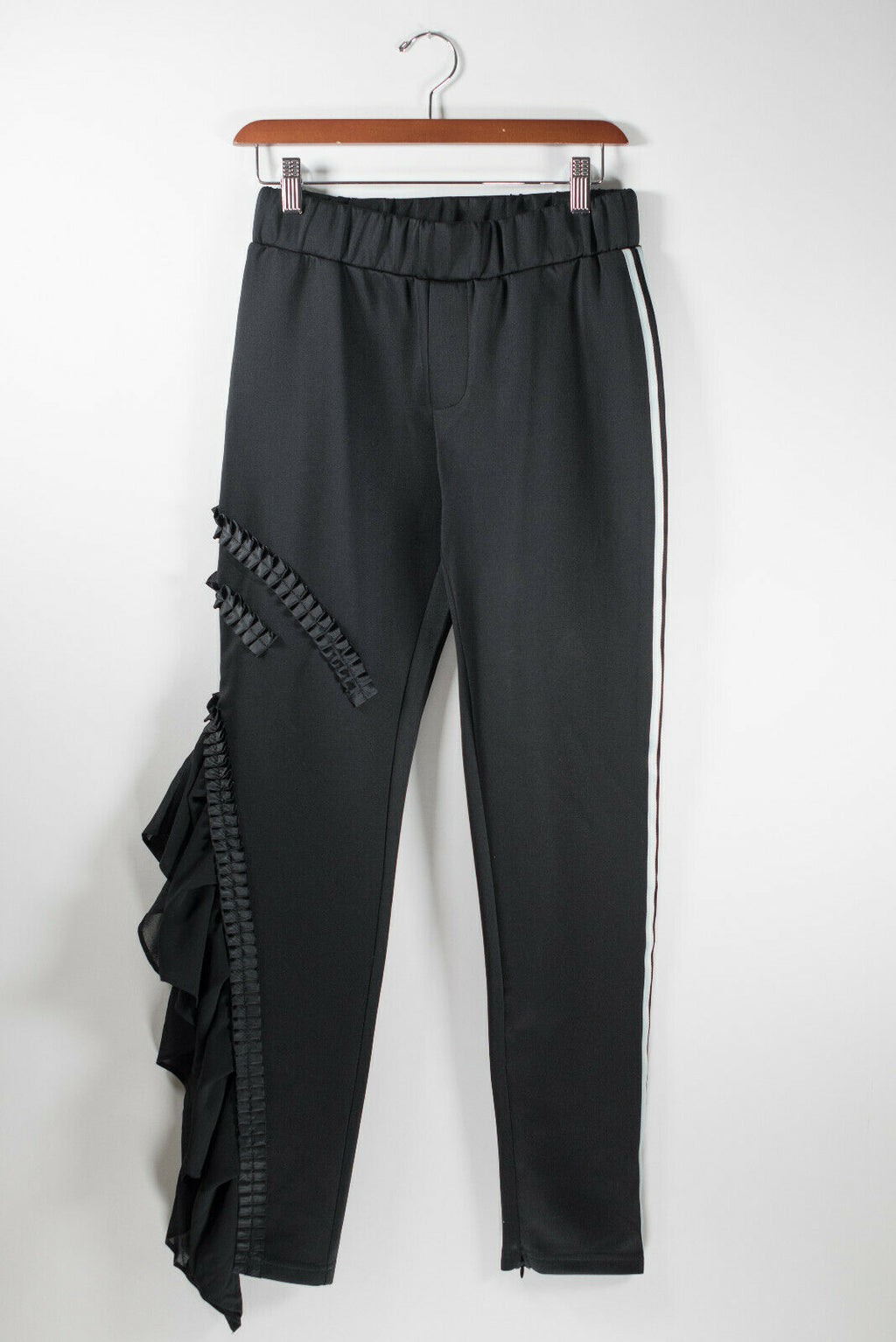 Womens Medium Black Trousers Applique Flare Ruffle Striped Stretch Track Pants