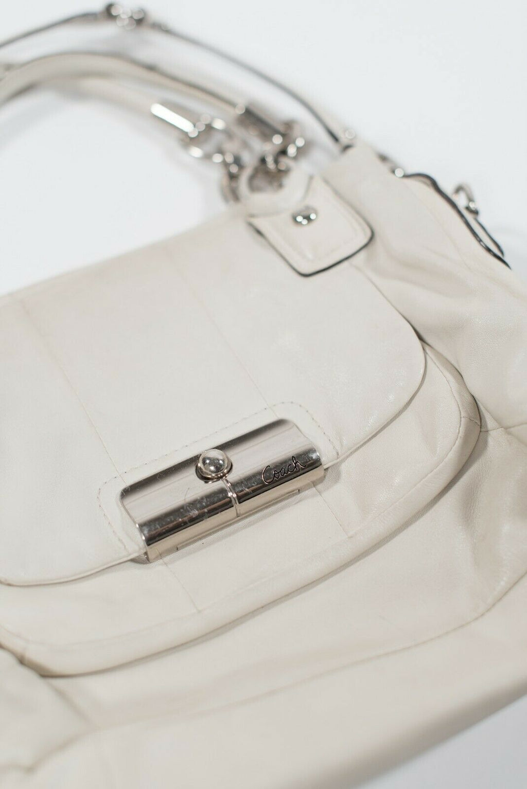 Coach Womens Ivory White Purse Solid Leather Front Pocket Double Handle Handbag