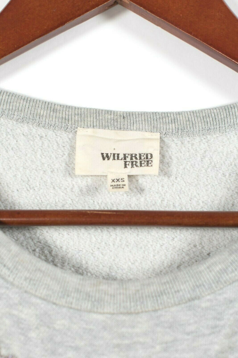 Aritzia Wilfred Free Womens XXS Gray Pullover Crew Sweatshirt Floral Sweater Top