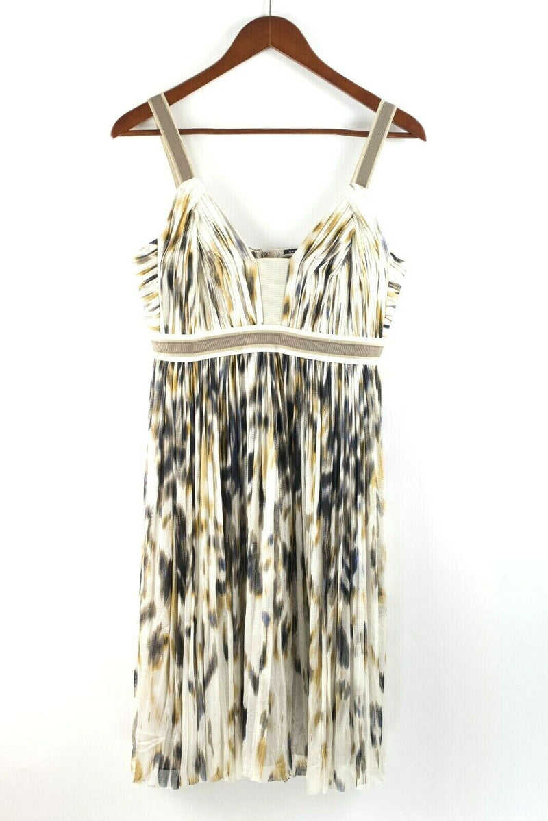 Elie Tahari Womens Size 6 Small White Brown Blue Dress Graphic Mesh Sleeveless