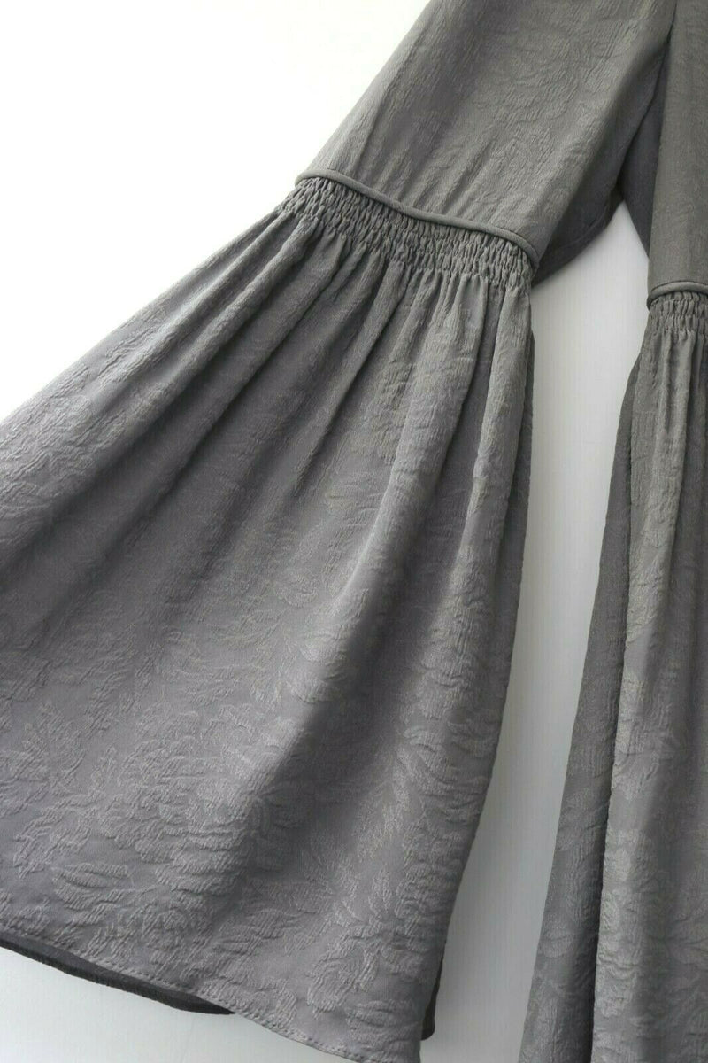 Free People Womens Size 12 Large Grey Dress Victorian Duchess Mini Boho Tunic