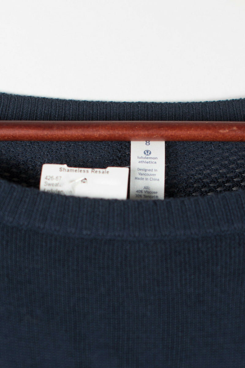 Lululemon Womens Medium Blue Pullover Sweater Well Being Mesh Back Knit Soft Top