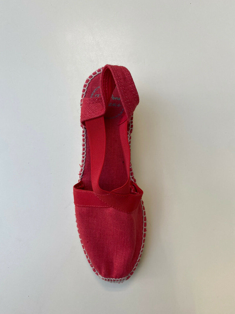 Toni Pons Womens Size 37 Red Tona Espadrille Wedge Elastic Strap Canvas Shoes