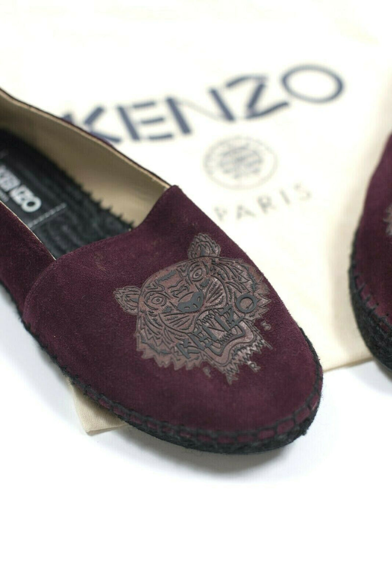 Kenzo Paris Womens Size 8 Burgundy Shoes Tiger Espadrille Suede Leather Flats