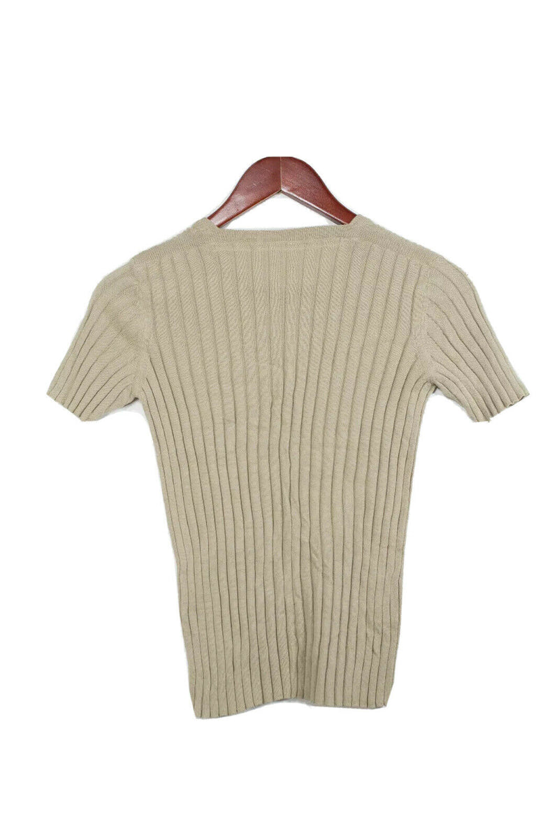 Prada Womens Size Small Beige Short Sleeve Sweater