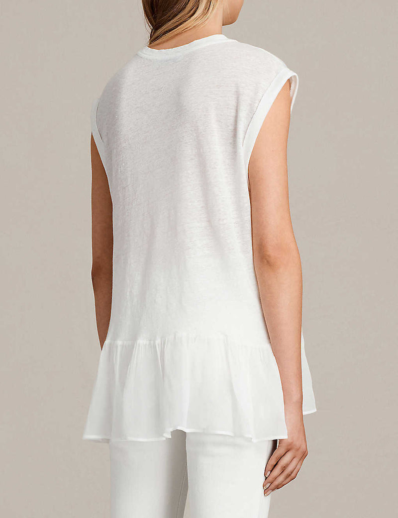 Allsaints Womens Size Small White Tank Top Crew Neck Peplum Jody Linen Top Shirt