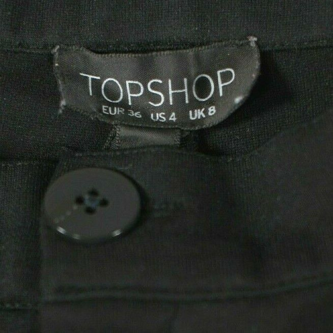 Topshop Womens Size 4 Small Black Pants High Waist Stretch Knit Slim Trousers