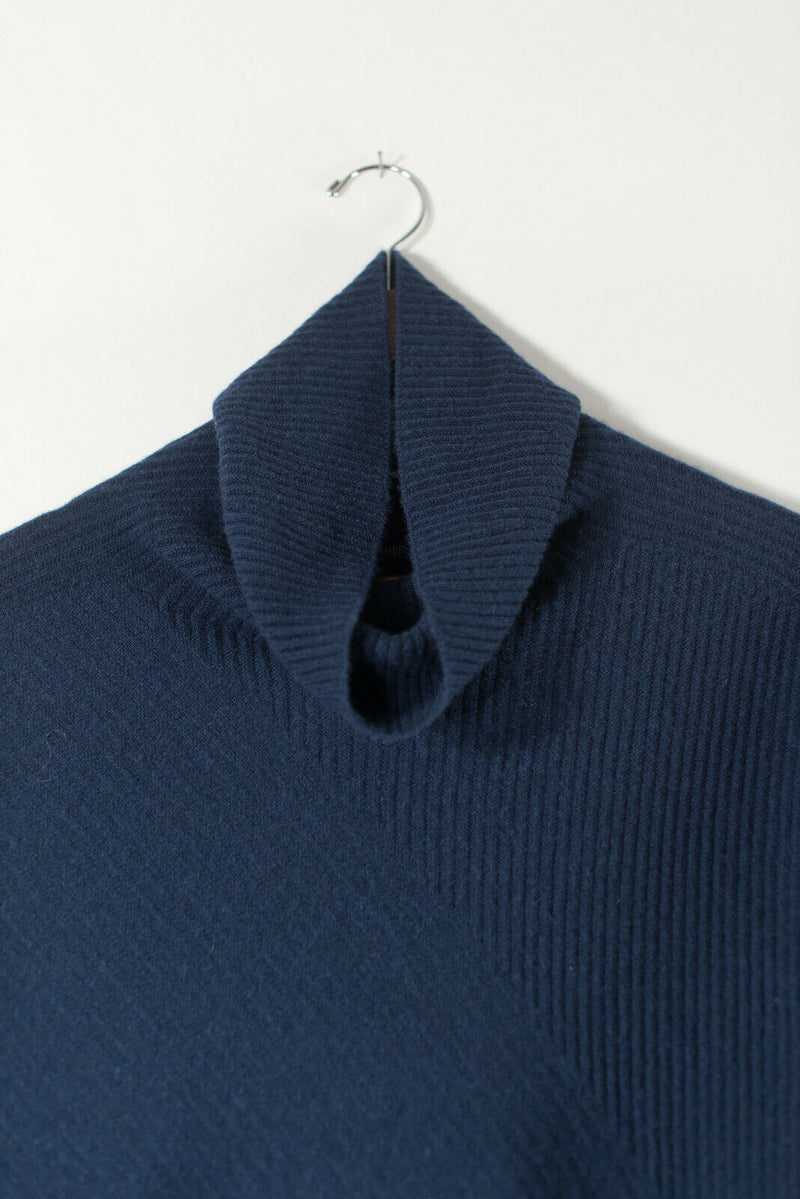 Eileen Fisher Womens Small Blue Pullover Sweater Turtleneck Cashmere Ribbed Knit