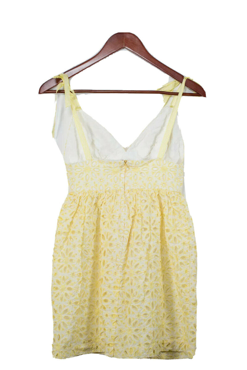 Milly Womens Size 0 White Yellow Eyelet Halter Dress