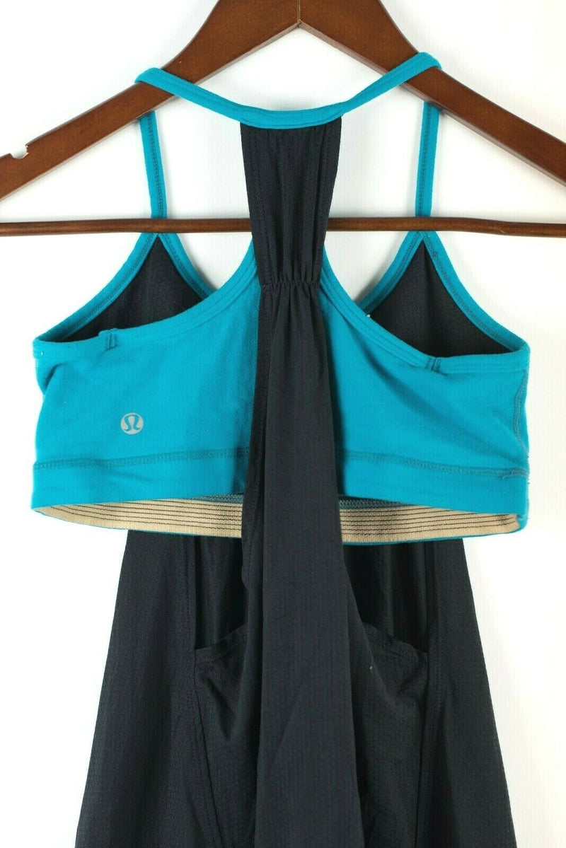 Lululemon Athletica Womens Small Shirt No Limit Black Green Tank Bra Top Yoga