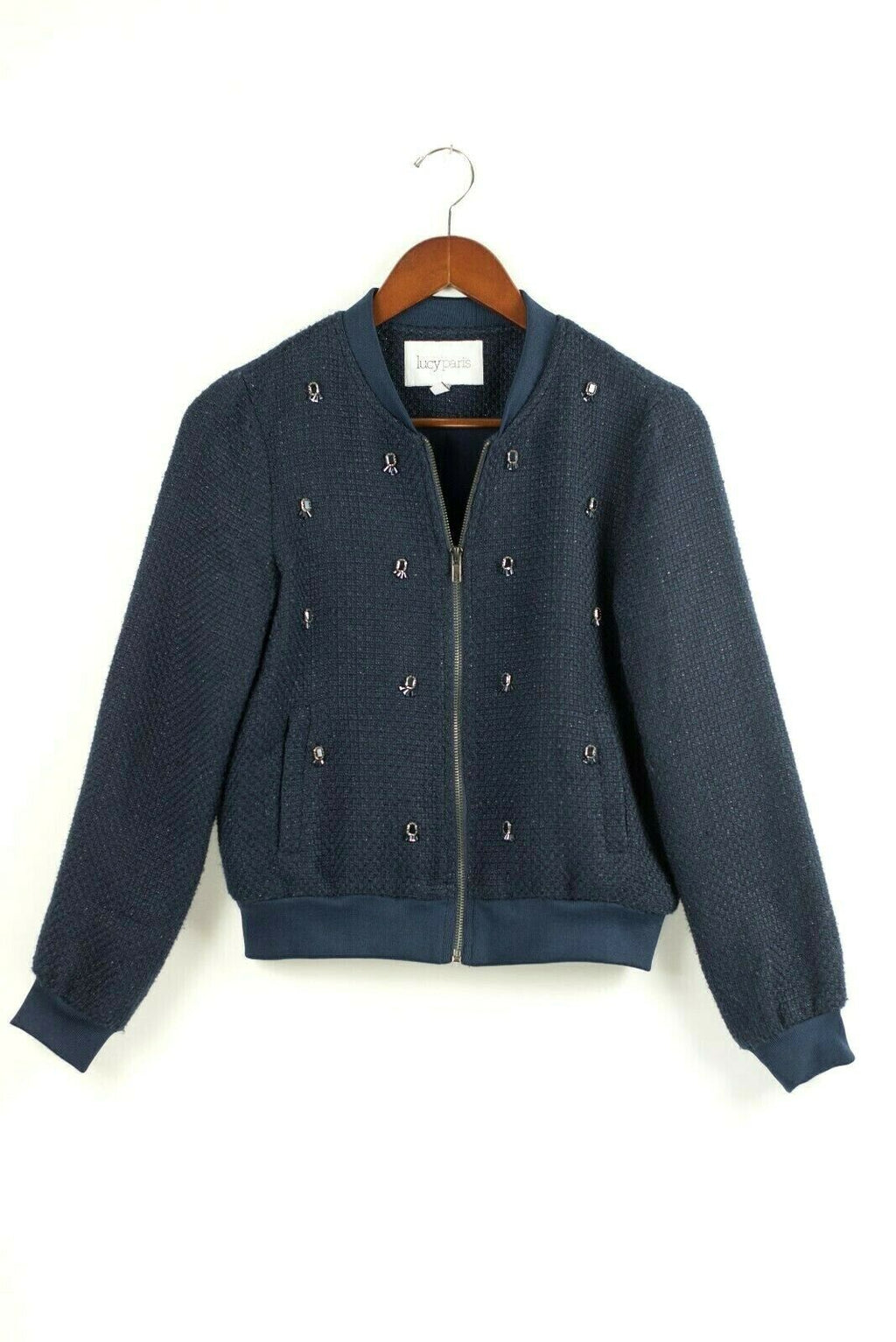 Lucy Paris Womens Size Small Navy Blue Outerwear Bomber Jacket Tweed Rhinestone