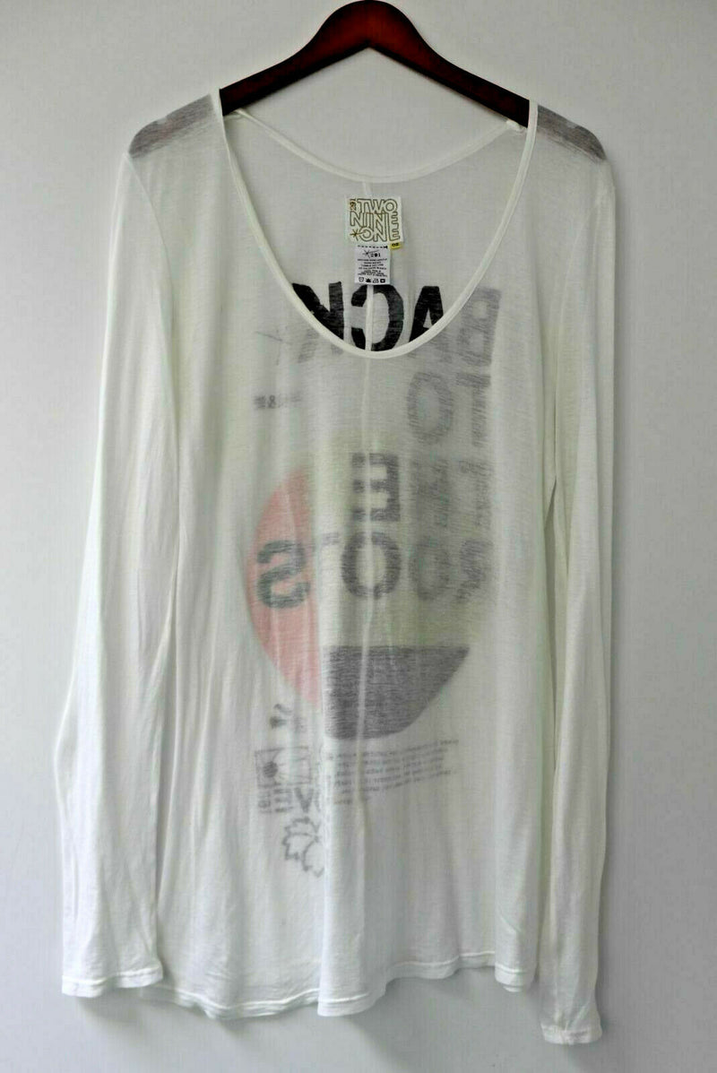 291 Venice Women's Size 2 Cotton White Long Sleeve Top Graphic Back To The Roots