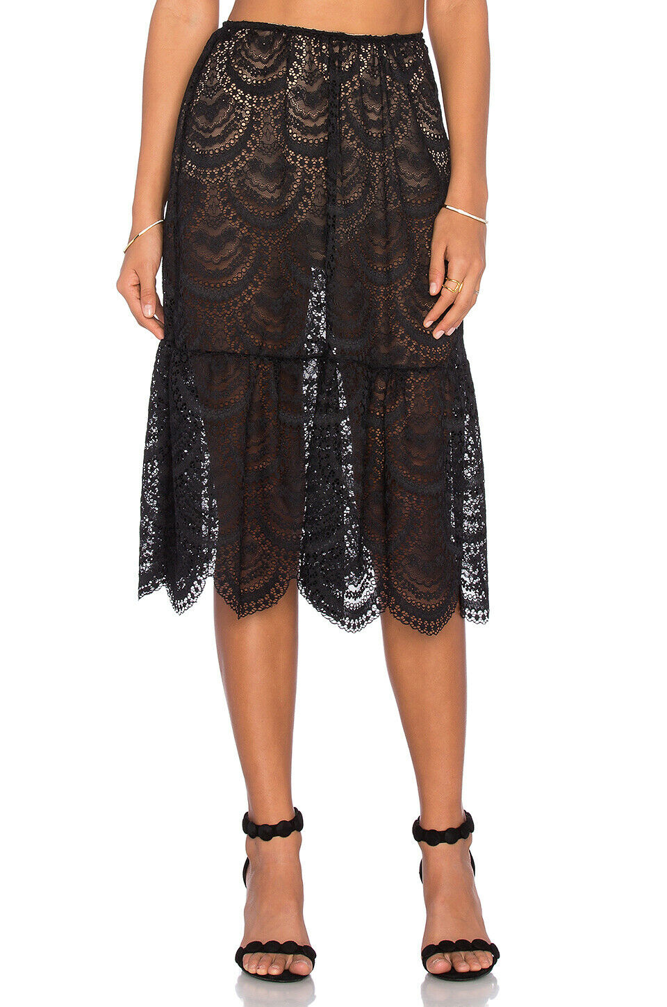 For Love & Lemons Womens XS Black Nude Midi Skirt Rosalita Scalloped Sheer Lace