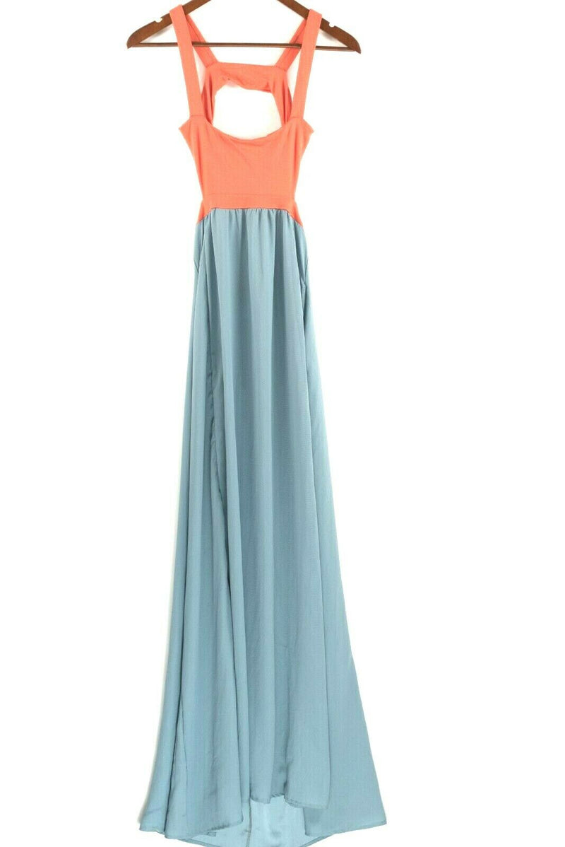 L Space Womens Size Small Teal Orange Maxi Dress Natasha Cutout Tank Strap Dress