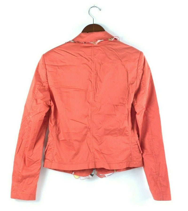 Emilio Pucci Womens Size 8 Medium Orange Jacket Blazer Graphic Trim Cotton Coat
