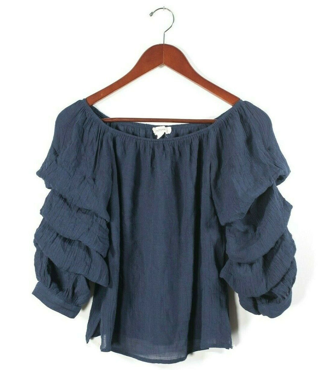One The Land Womens Small Navy Blue Top Blouse Shirt Peasant Puffy Ruffle Sleeve