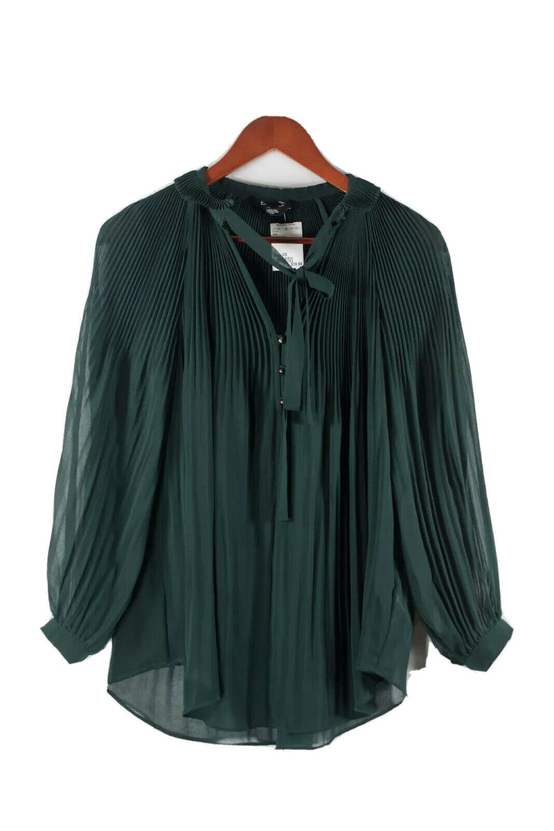 Bebe Womens XS Forest Green Blouse Pleated Crepe Ribbon Neck Tie Tunic Shirt Top