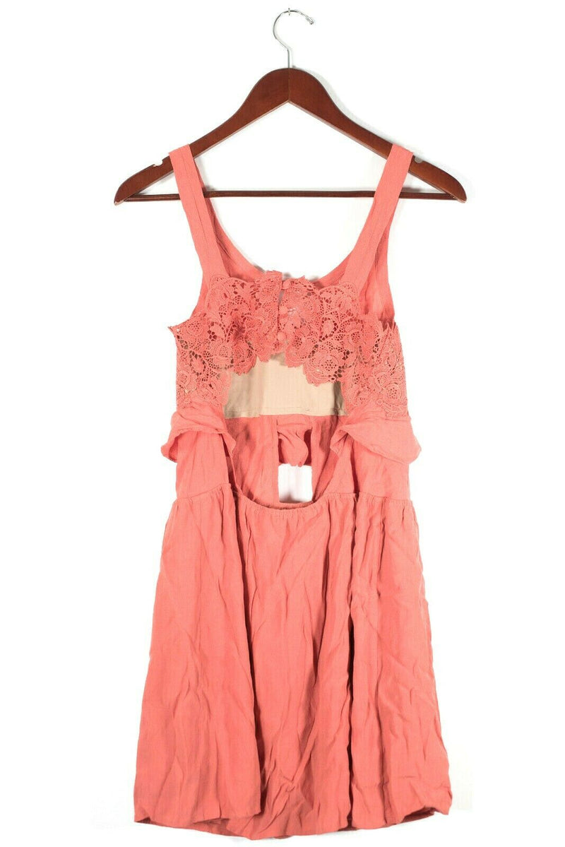 For Love & Lemons Womens XS S Coral Pink Dress Cut Out Crochet Ruffle Tank Mini