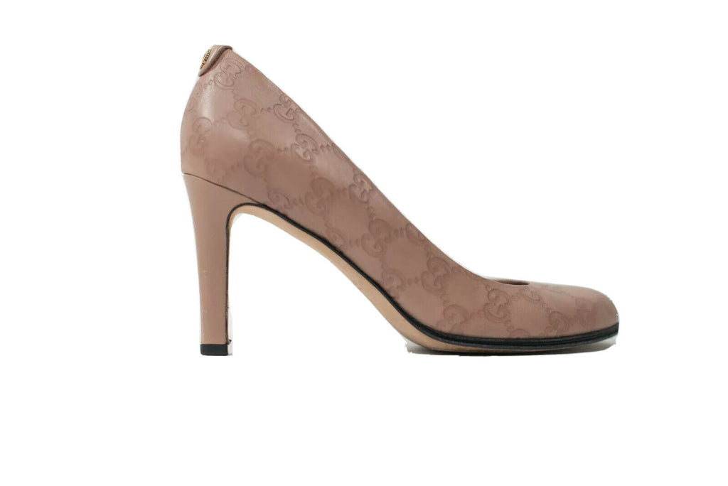 Gucci Womens Size 38 Nude Beige Pumps High Heel Round Toe Embossed GG Logo Shoes