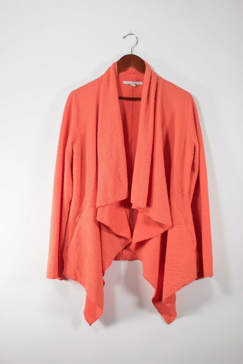 Fever Womens Large Orange Cardigan Sweater Ribbed Knit Asymmetrical Top Jacket