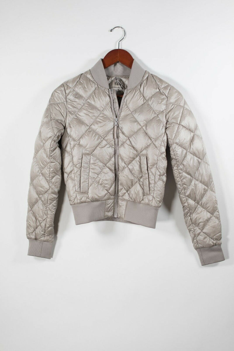 Aritzia TNA Womens Size XXS Beige Khaki Jacket League Down Quilted Nylon Jacket