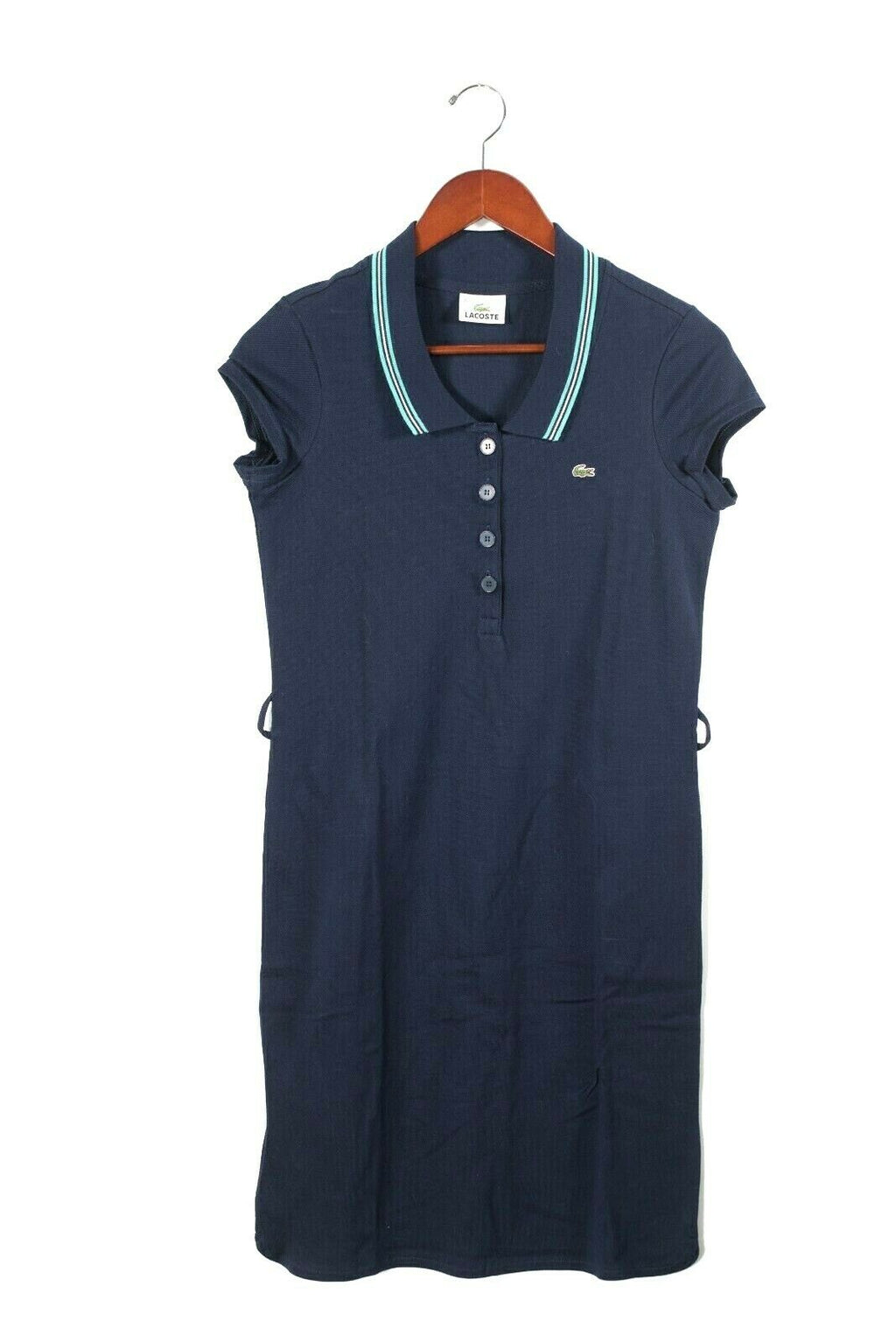 Lacoste Womens 36 XS Navy Blue Slim Fit Stretch Polo Pullover Mini Shirt Dress