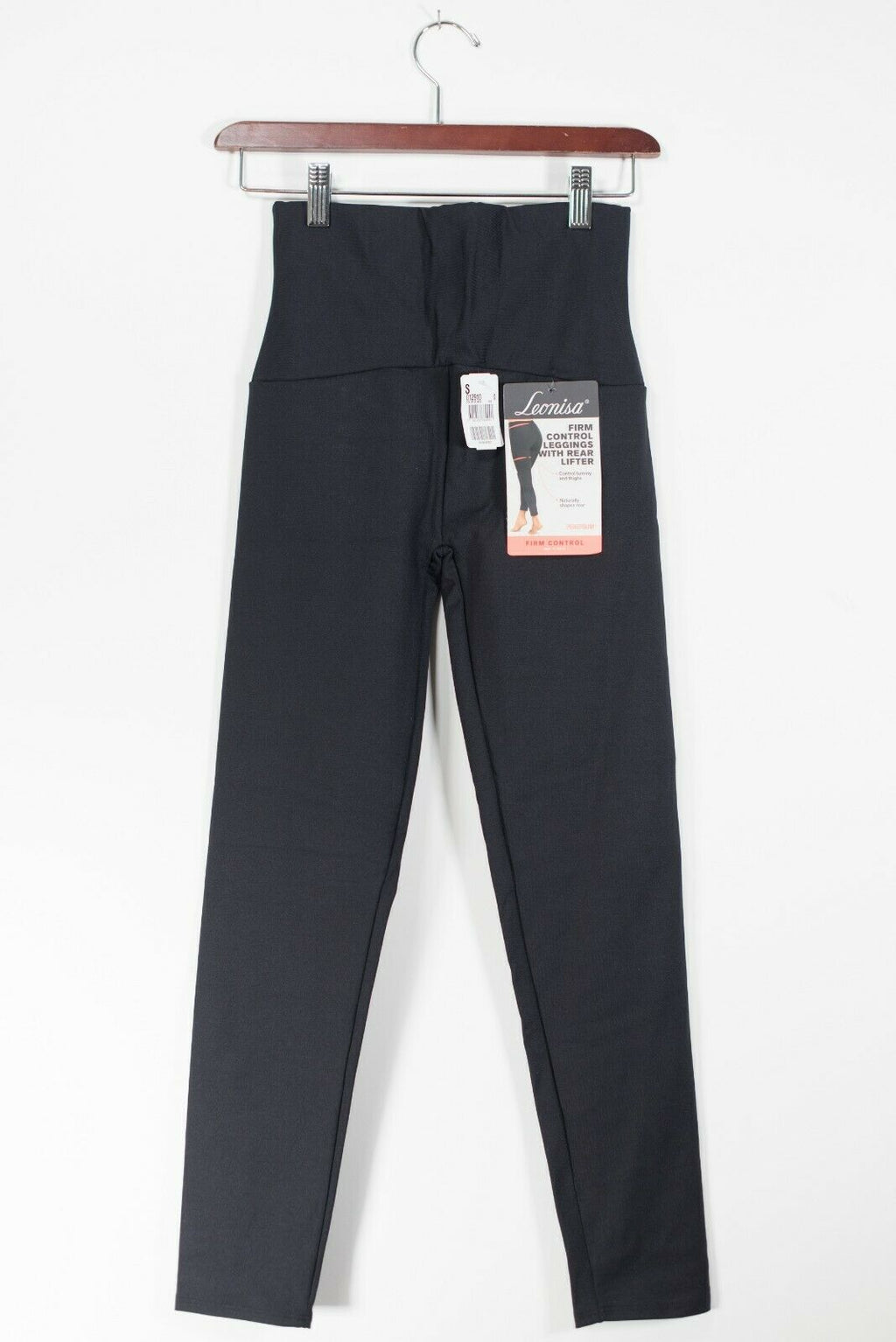 Leonisa Womens Small Black Leggings Firm Control Compression Rear Lift Pants NWT