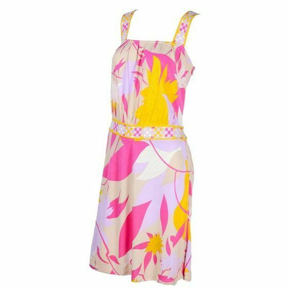 Emilio Pucci Womens 4 Small Pink Purple Cream Yellow Halter Dress Floral Leaf