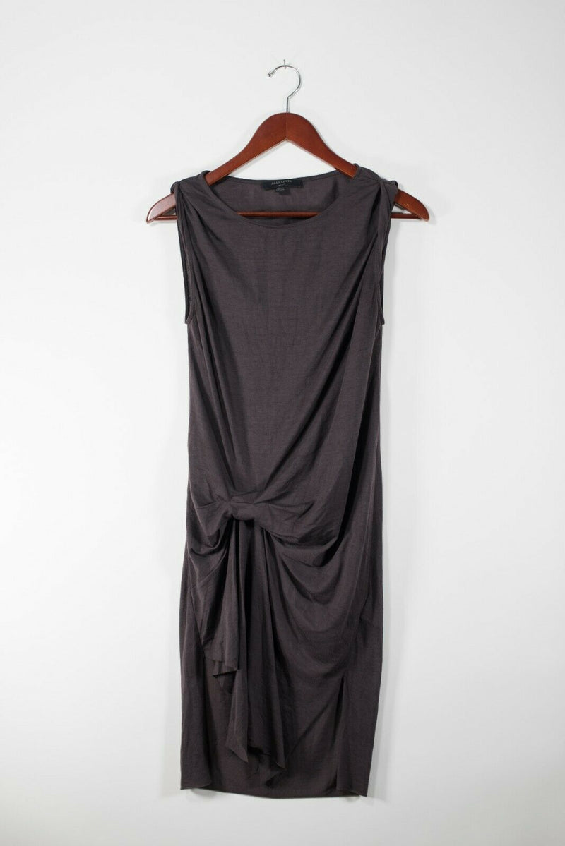 Allsaints Womens Size Small Brown Dress Asymmetrical Midi Sleeveless Crew Neck