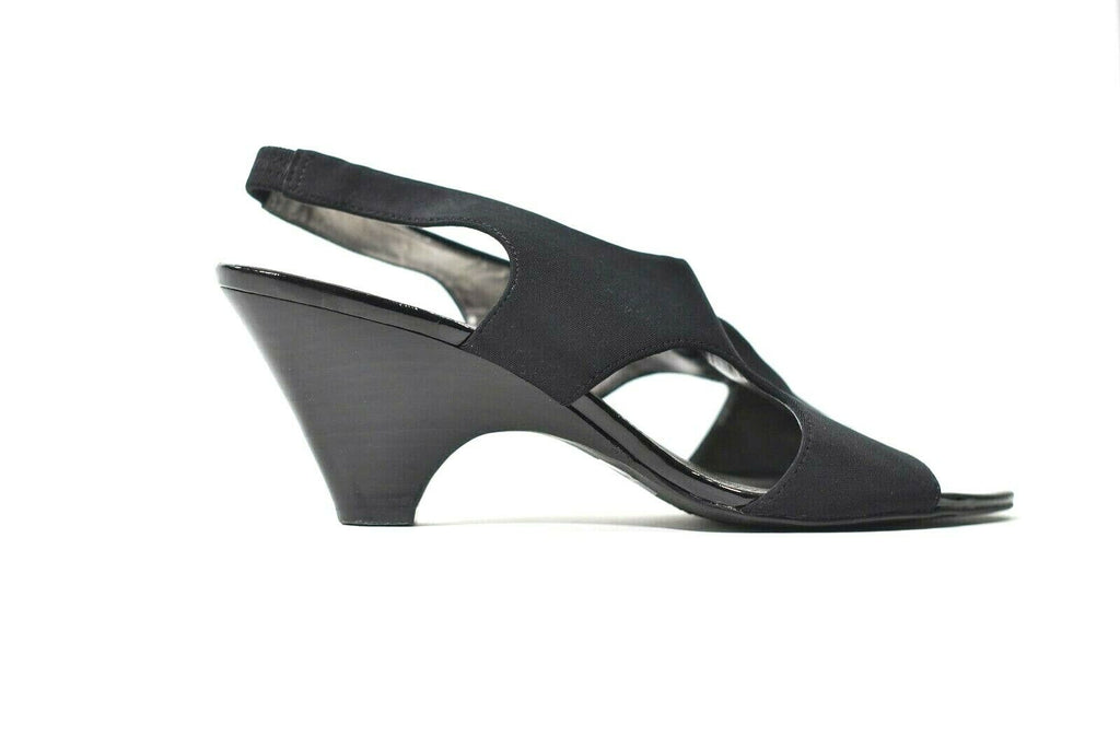 Joan & David Circa Luxe Women Size 9.5 Black Sandals Patent Heels Slingbacks