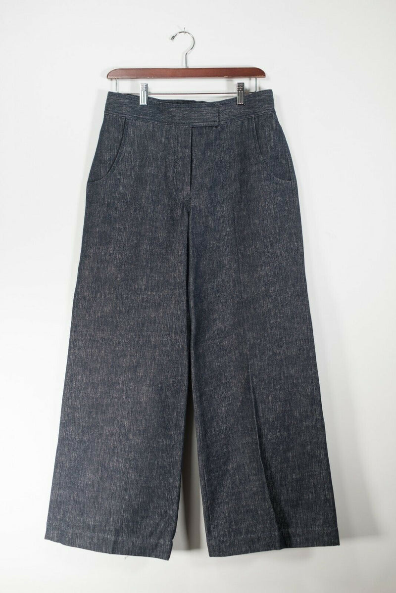 Derek Lam Women's Size 8 Blue Jean Wide-leg Denim Cotton Culottes Front Pockets