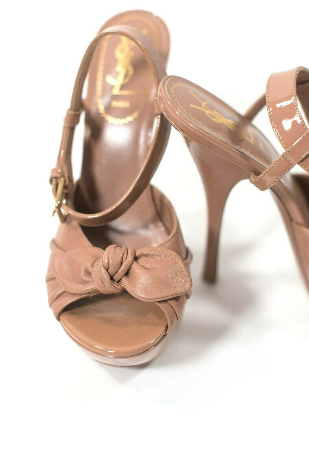YSL Yves Saint Laurent Womens 37 Brown Sandals Poppy 105 Open Toe Bow Stiletto