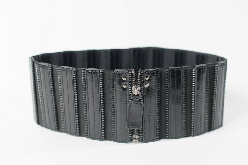BCBG Maxazria Womens Small Black Waist Belt Leather Stretch Wide Fashion Zippers