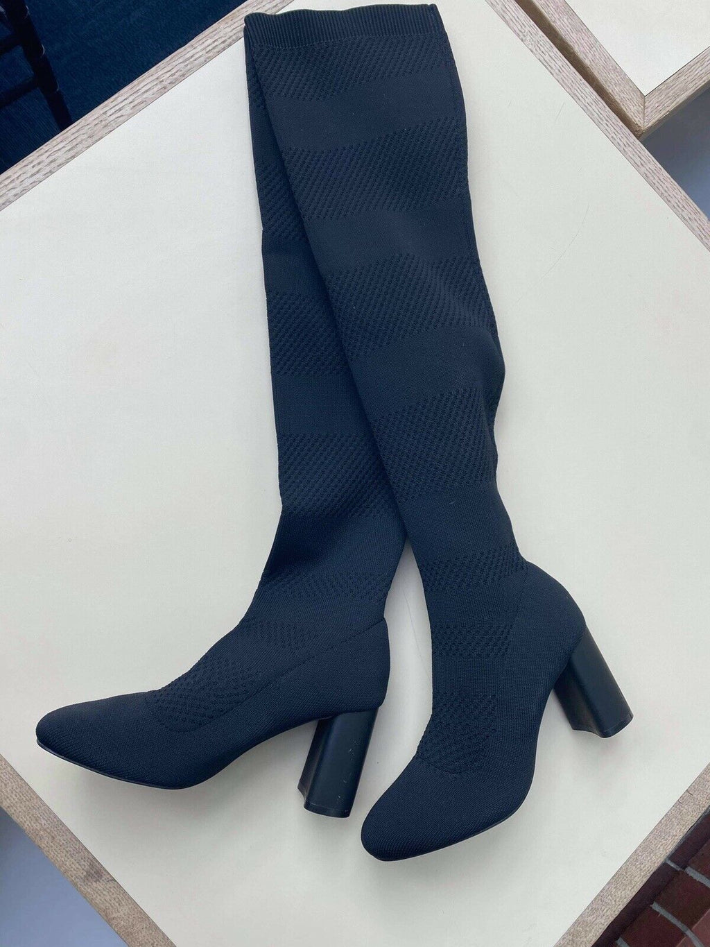 Zara Womens Size 5.5 Black Boots Knitted Over-Knees Sock Boot High Heel Shoes