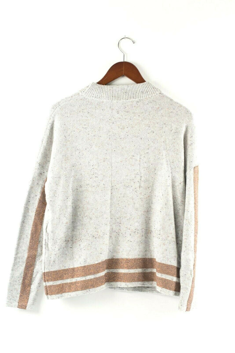 Marc Aurel Womens Size 38 Small Gray Pullover Sweater Copper Stripes Jumper Top